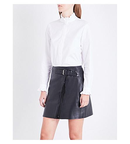 CLAUDIE PIERLOT Colombine Ter striped cotton-poplin shirt (Blanc