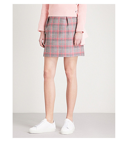CLAUDIE PIERLOT Checked cotton-blend skirt (Grey