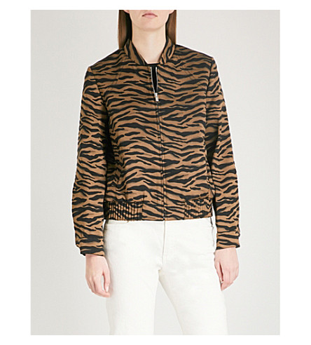 CLAUDIE PIERLOT Vito tiger-patterned embroidered bomber jacket (Noir