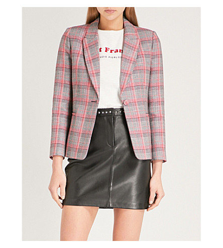 CLAUDIE PIERLOT Checked cotton-blend blazer (Grey