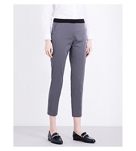 CLAUDIE PIERLOT Partition tapered crepe trousers (Marine