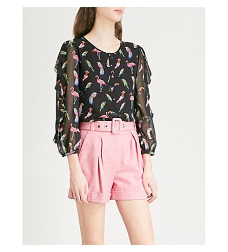 CLAUDIE PIERLOT Balloon-sleeve printed chiffon blouse (Black