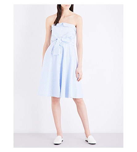 CLAUDIE PIERLOT Rina corseted sleeveless cotton-poplin dress (Bleu+ciel