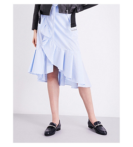 CLAUDIE PIERLOT Salsa ruffled pure-cotton skirt (Bleu+ciel