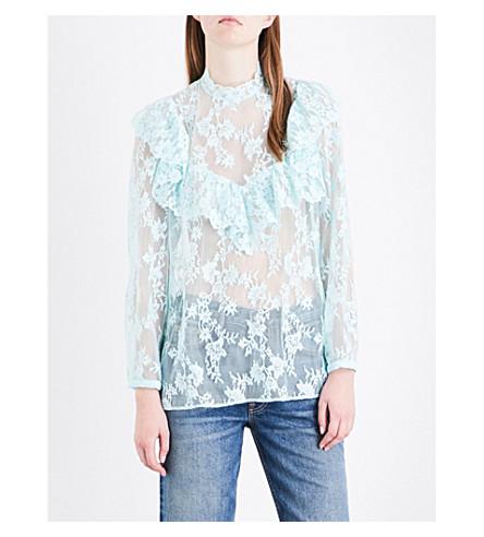 CLAUDIE PIERLOT Brave floral-lace blouse (Aqua