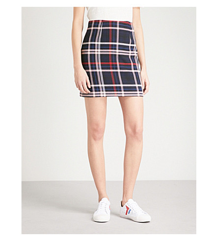 Checked woven skirt