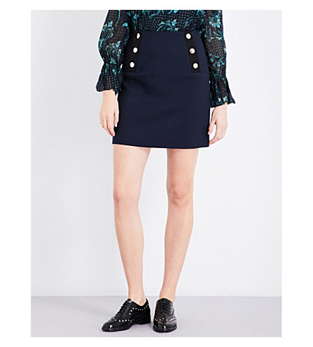 CLAUDIE PIERLOT Saison button-detail ribbed skirt (Petrol