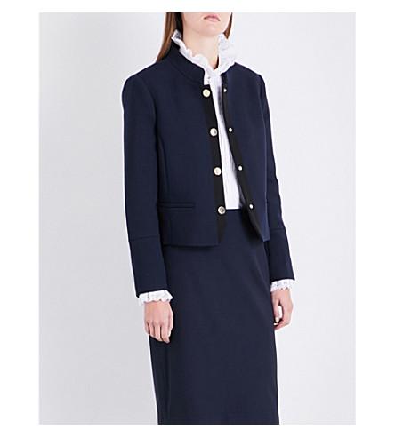 CLAUDIE PIERLOT Mandarin-collar woven jacket (Petrol