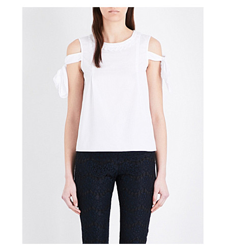 CLAUDIE PIERLOT Bella cotton-poplin top (Blanc