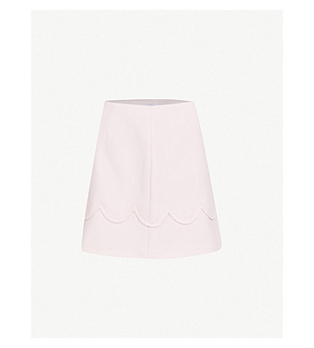 CLAUDIE PIERLOT Scalloped-trim crepe skirt (White