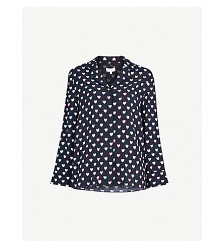 CLAUDIE PIERLOT Heart-print crepe shirt (Blue