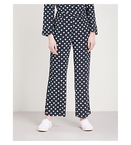 CLAUDIE PIERLOT Heart-print crepe trousers (Blue