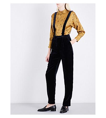 CLAUDIE PIERLOT Suspender-style velvet trousers (Petrol