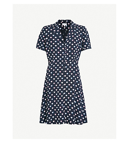 CLAUDIE PIERLOT Heart-print crepe dress (Blue