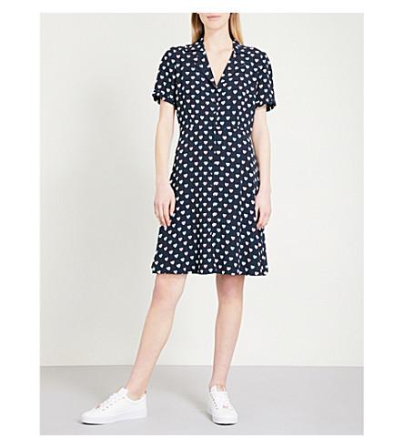 CLAUDIE PIERLOT Heart-print crepe dress (Blue