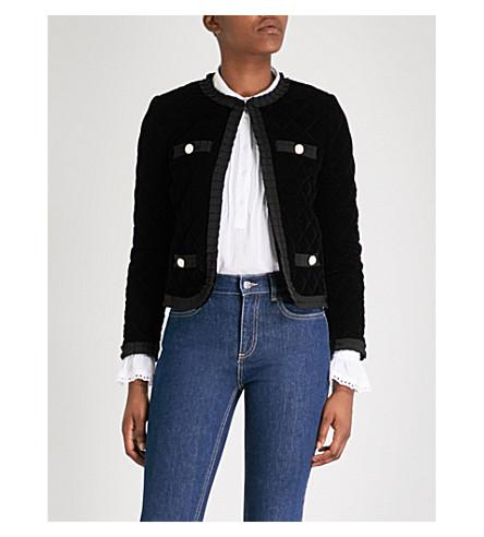 CLAUDIE PIERLOT Quilted velvet jacket (Black