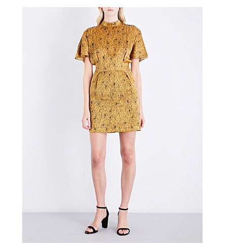 CLAUDIE PIERLOT High-neck face-pattern silk dress (Safran