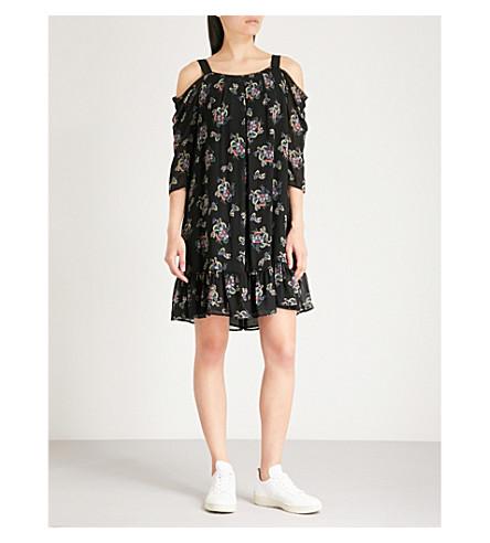 CLAUDIE PIERLOT Rowling floral-print chiffon dress (Noir