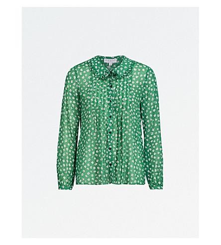 CLAUDIE PIERLOT Floral-print chiffon shirt (Dark+green