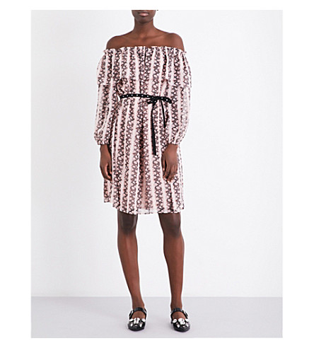 CLAUDIE PIERLOT Off-the-shoulder floral striped dress (Blush
