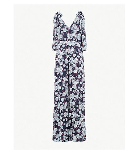CLAUDIE PIERLOT Floral-pattern chiffon jumpsuit (Blue