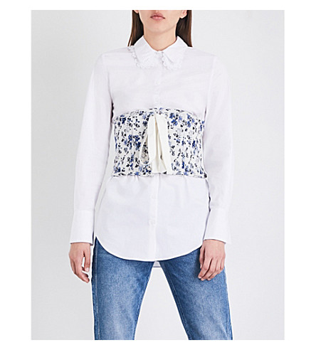 CLAUDIE PIERLOT Byzance floral-jacquard corset (Ecru