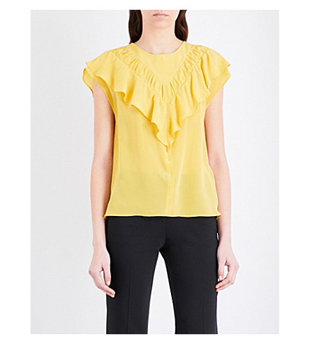 CLAUDIE PIERLOT Bessy fringed satin top (Jaune