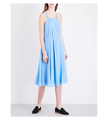 CLAUDIE PIERLOT Rivoli crepe midi dress (Bleu