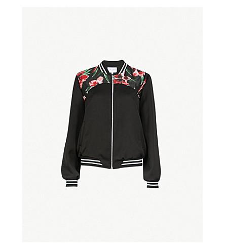 CLAUDIE PIERLOT Vroum striped printed woven bomber jacket (Black