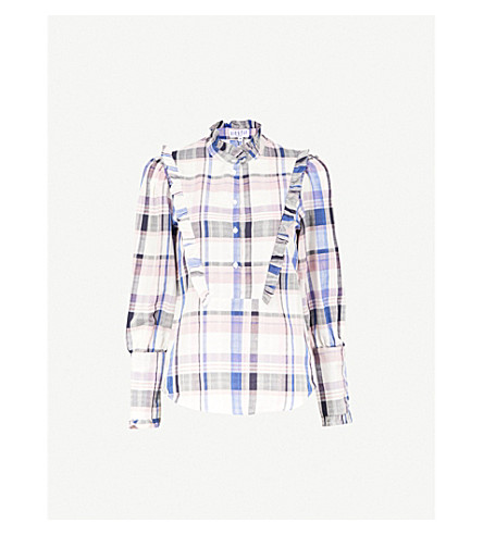 CLAUDIE PIERLOT Checked cotton-blend shirt (Cream