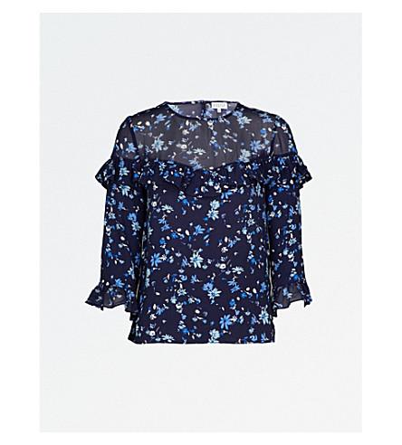 CLAUDIE PIERLOT Floral-print ruffled crepe top (Marine