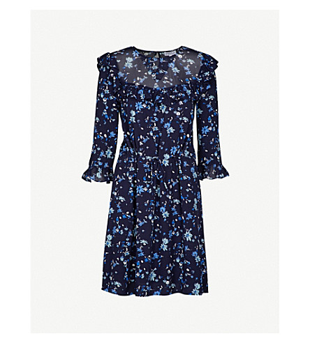CLAUDIE PIERLOT Floral-print ruffled crepe dress (Marine