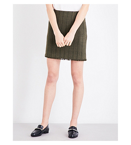 CLAUDIE PIERLOT Sand tweed mini skirt (Kaki