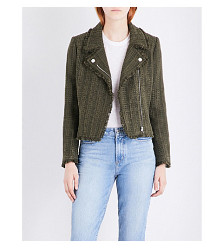 CLAUDIE PIERLOT Vendetta tweed biker jacket (Kaki