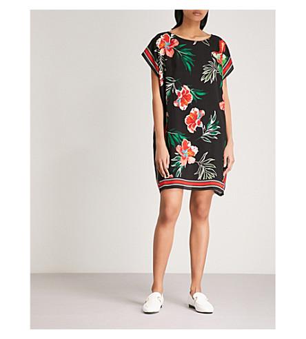 CLAUDIE PIERLOT Tropical-print silk mini dress (Noir