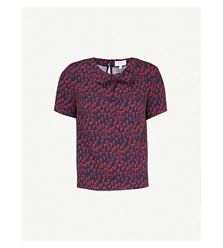 CLAUDIE PIERLOT Ballon heart-print top (Navy