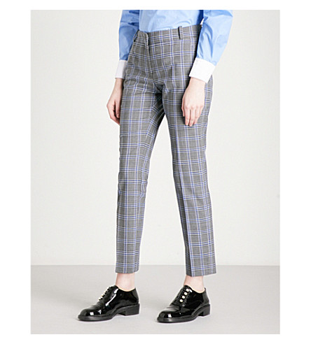 CLAUDIE PIERLOT Princes of Wales check tapered flannel trousers (Gris