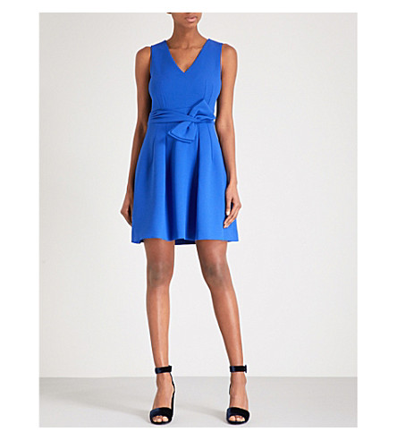 CLAUDIE PIERLOT Bow-embellished crepe dress (Blue