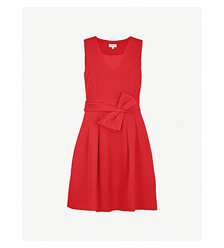 CLAUDIE PIERLOT Bow-embellished crepe dress (Red