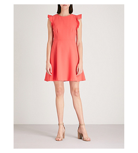 CLAUDIE PIERLOT Cutout-back crepe dress (Coral