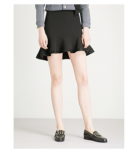 CLAUDIE PIERLOT Flared-hem crepe skirt (Black