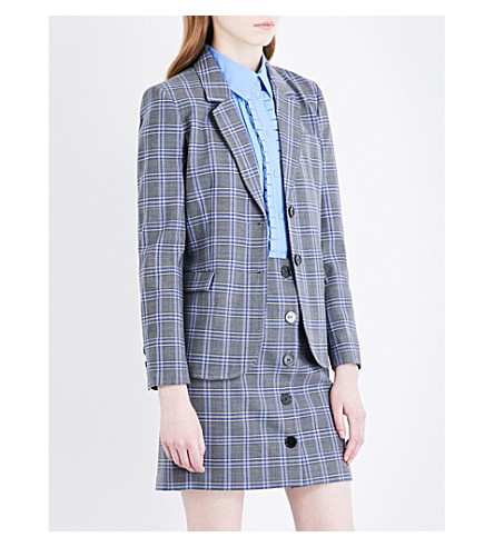 CLAUDIE PIERLOT Checked single-breasted woven jacket (Gris