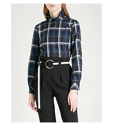 CLAUDIE PIERLOT Hoop ring-detail checked flannel shirt (Marine