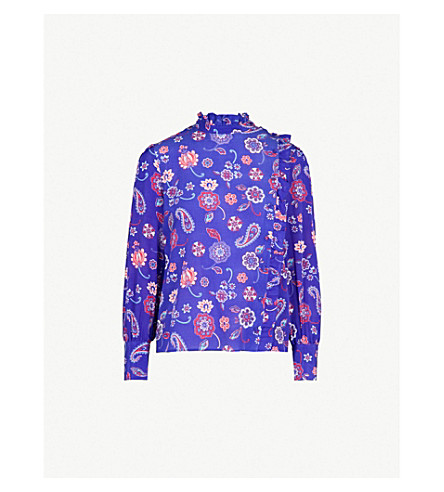 CLAUDIE PIERLOT Ruffled printed silk blouse (Purple