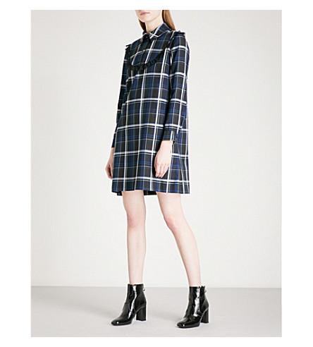CLAUDIE PIERLOT Lace-trim checked flannel mini dress (Marine
