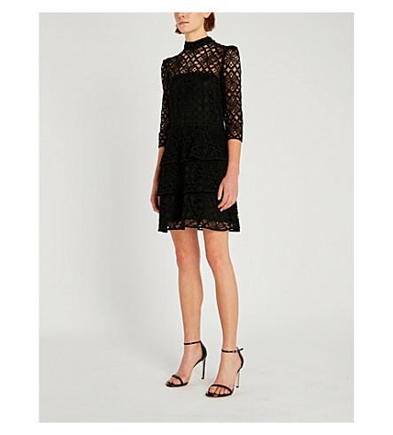 CLAUDIE PIERLOT High-neck floral lace dress (Black