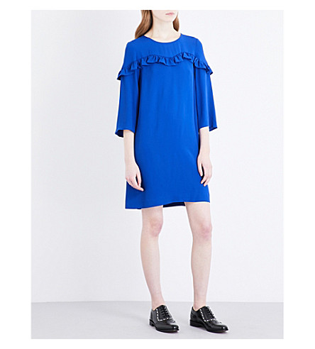 CLAUDIE PIERLOT Frilled-panel crepe dress (Bleu+roi