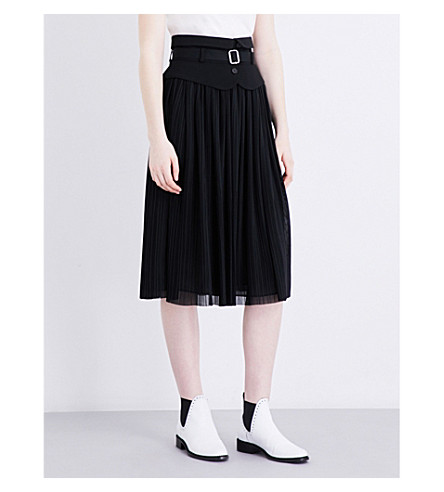 CLAUDIE PIERLOT Shy pleated chiffon skirt (Noir