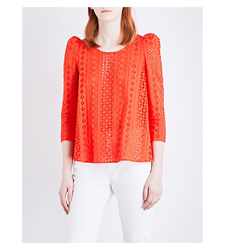CLAUDIE PIERLOT Banc broderie anglaise top (Orange