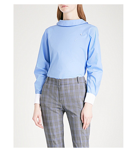 CLAUDIE PIERLOT Reverse-collar cotton-poplin blouse (Bleu